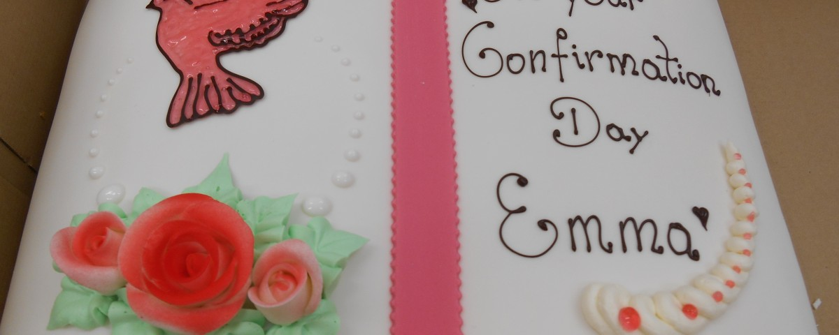 Confirmation cake iced